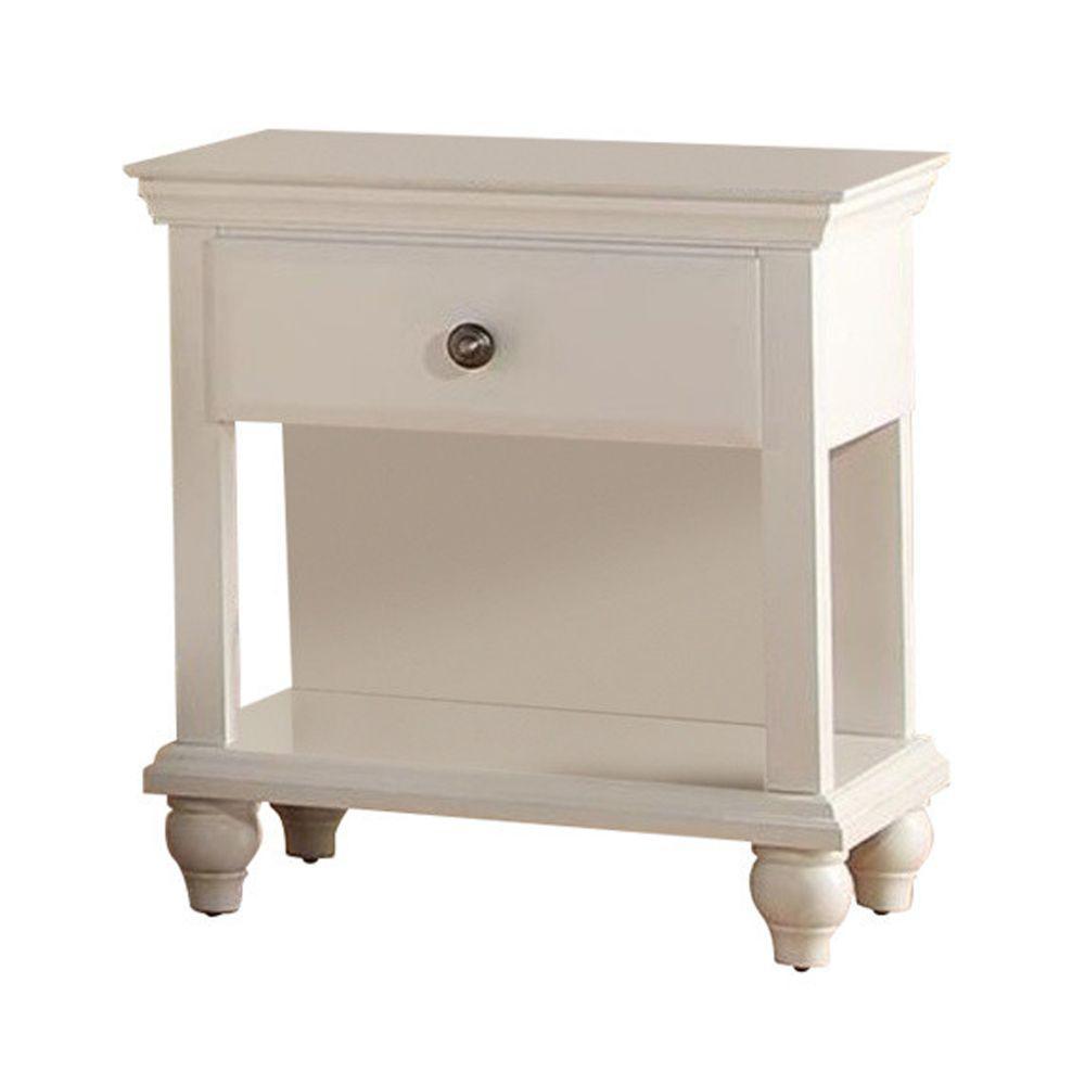 Poplar Wood White Spacious Storage Nightstand