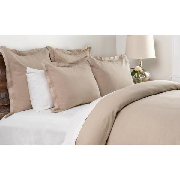 Harlow Natural Linen Blend 26 in  x 26 in  Euro Sham