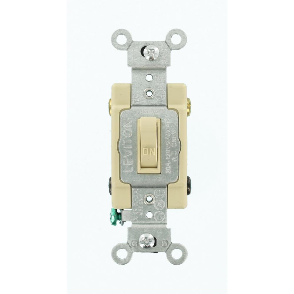 Leviton 20 Amp Commercial Grade Double-pole Toggle Switch  Ivory-54522-2i