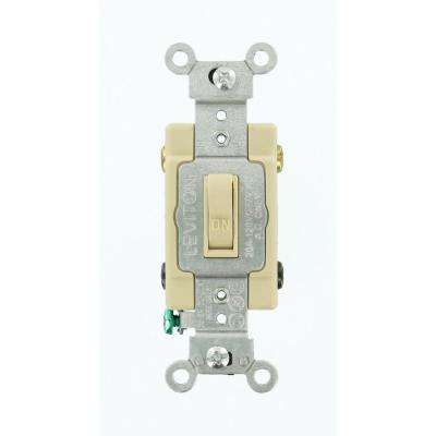 20 Amp Commercial Grade Double-Pole Toggle Switch, Ivory