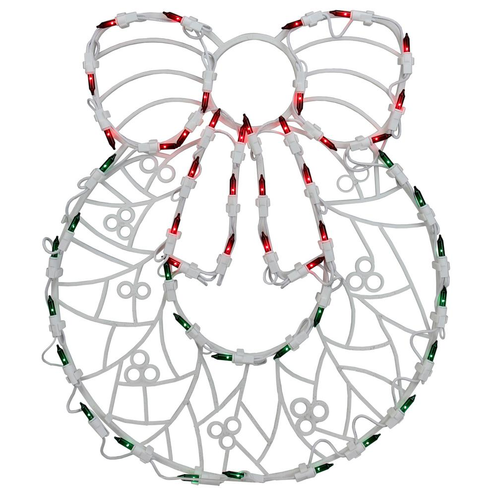 18 in. Christmas Lighted Wreath Window Silhouette Decoration (4-Pack)