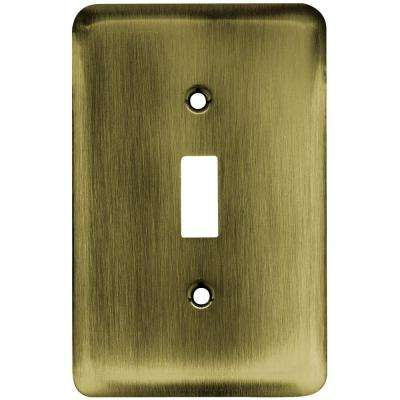 Stamped Round Decorative Single Switch Plate, Antique Brass
