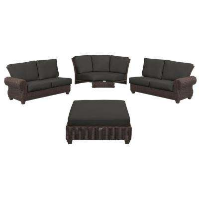 Mill Valley 4-Piece Brown Wicker Outdoor Patio Sectional Sofa Set with CushionGuard Graphite Dark Gray Cushions