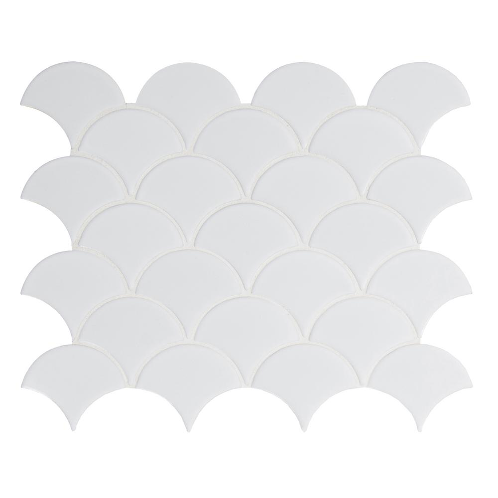 MSI Retro Scallop Bianco 13.11 in. x 9.96 in. x 6 mm Porcelain Mesh-Mounted Mosaic Tile (13.65 sq. ft. / case)