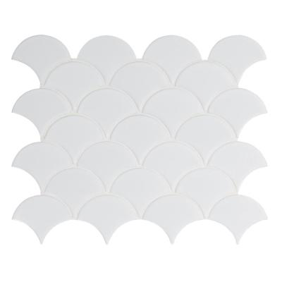 Retro Scallop Bianco 13.11 in. x 9.96 in. x 6mm Glossy Porcelain Mesh-Mounted Mosaic Tile (13.65 sq. ft. / case)