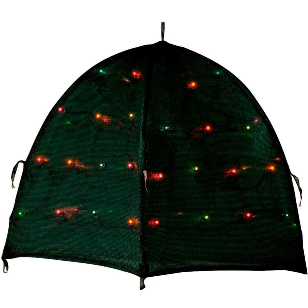NuVue Shrub Cover with Lighted Color LED Lights 28 in. Pop-Open Framed