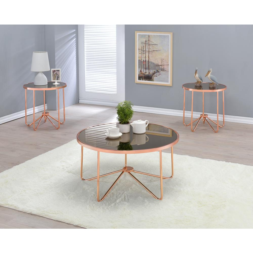 Acme Furniture Alivia Smoky Glass And Rose Gold Coffee Table 81840
