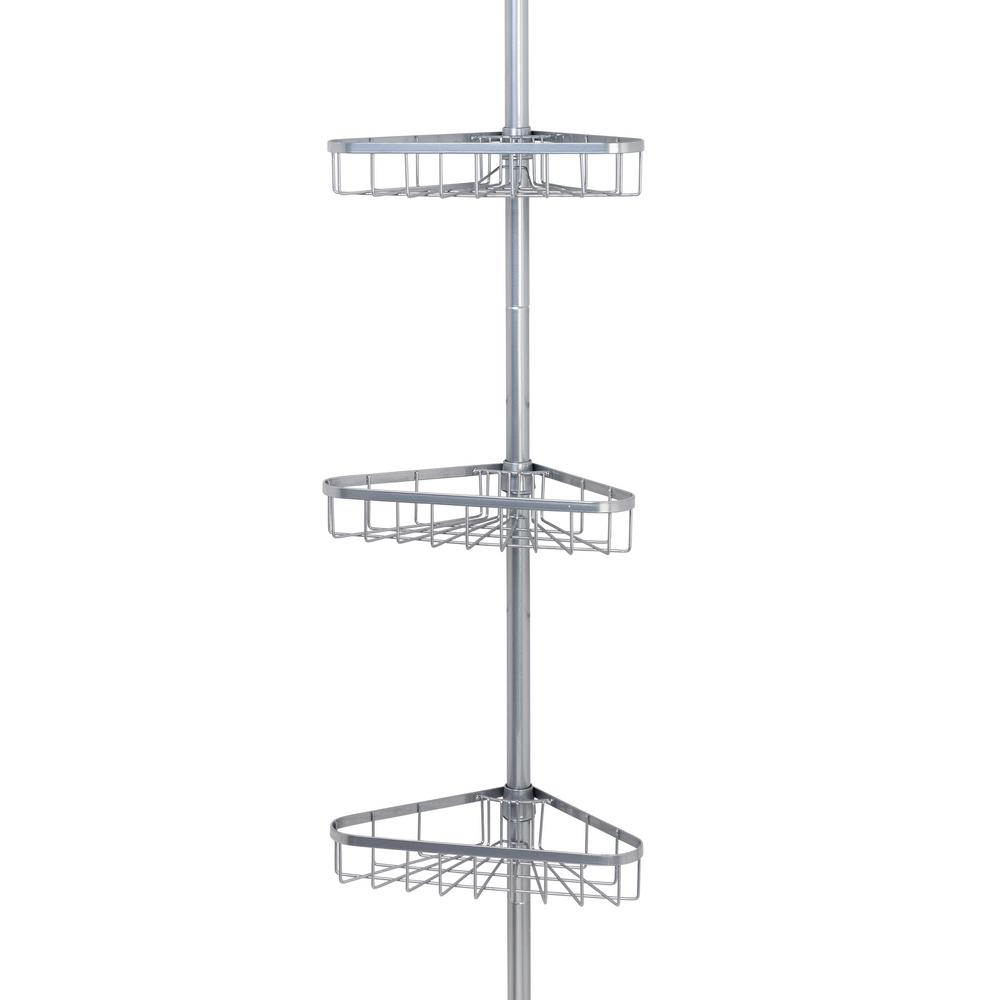 Tension Pole Shower Caddy in Satin Chrome with 3-Shelves