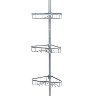 Tension Pole Shower Caddy In Satin Chrome With 3 Shelves