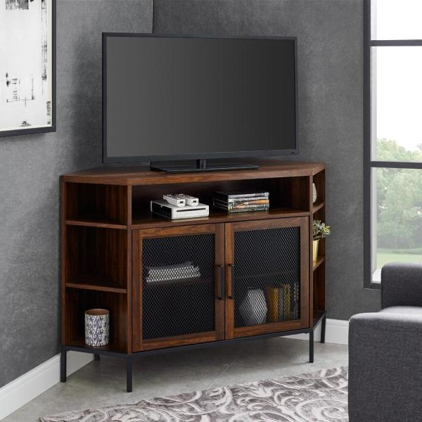 Welwick Designs Dark Walnut Industrial Corner Tv Console For