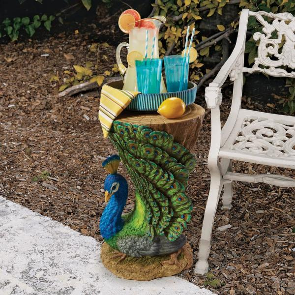 Provocative Peacock 22 in. H Sculptural Polyresin Outdoor Side Table