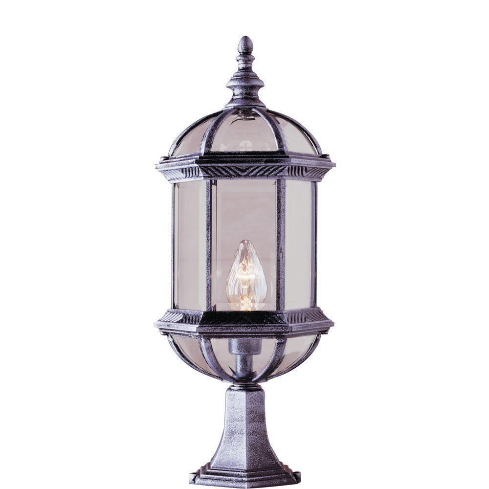 Bel Air Lighting Atrium 1-Light Outdoor White Post Top Lantern with Clear Glass