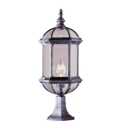 Atrium 1-Light Outdoor White Post Top Lantern with Clear Glass
