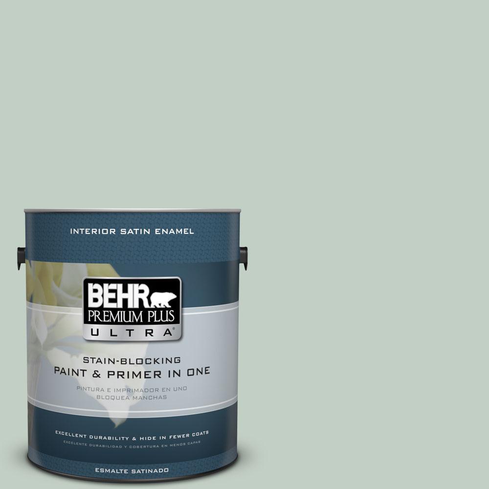 BEHR Premium Plus Ultra 1-Gal. #PPU11-13 Frosted Jade Satin Enamel Interior Paint