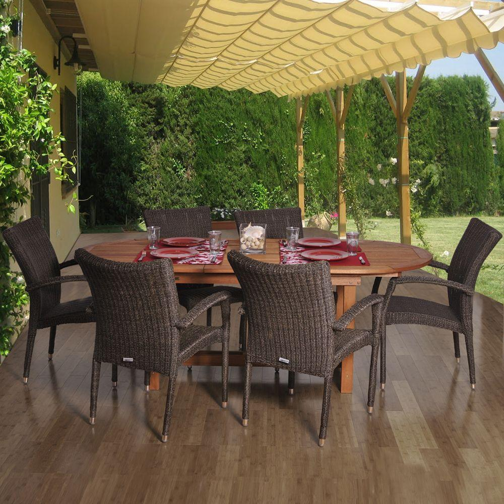 outdoor set furniture table dining extendable patio sacramento chairs trento club