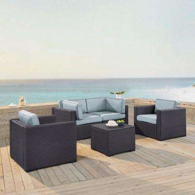 Biscayne 4-Person Wicker Outdoor Seating Set with Mist Cushions - 2 Armchairs, 2 Corner Chair, Coffee Table