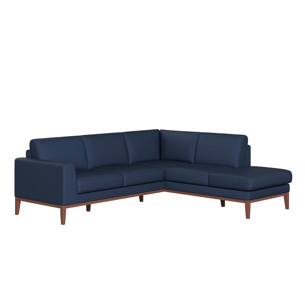 Handy Living Clydesdale Blue Fabric Lshaped Rightfacin Chaise Sectional 14501