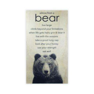 28 in. x 15.75 in. ANIMAL ADVICE- BEAR by Twelve Timbers, INC. Wooden Wall Art
