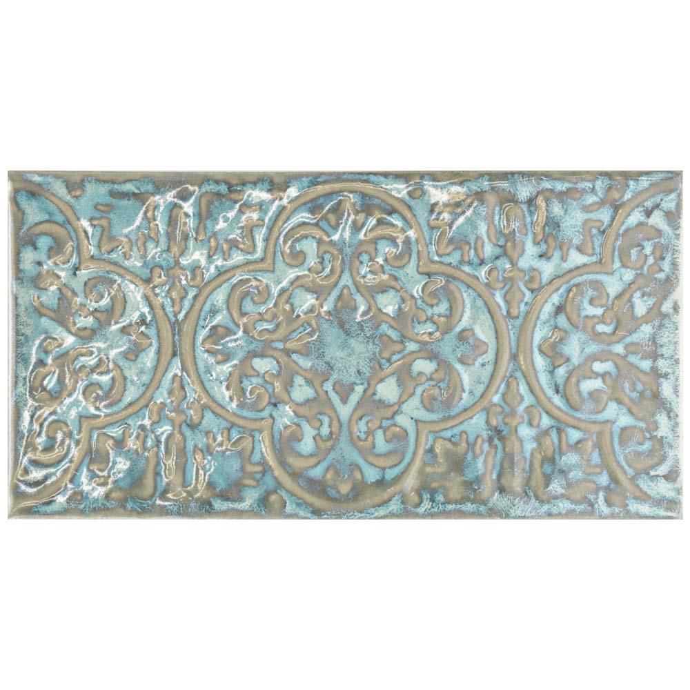 Merola Tile Zurbaran Esmeralda 4-3/8 in. x 8-3/4 in. Ceramic Wall ...