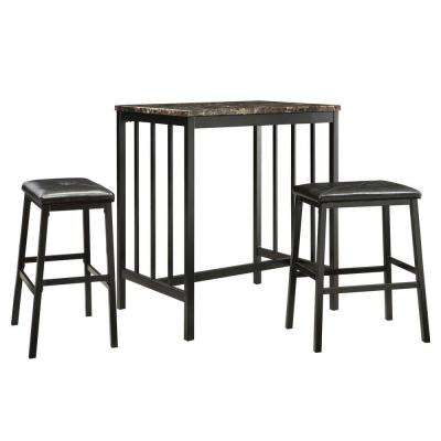 Wyman 3-Piece Black Bar Table Set