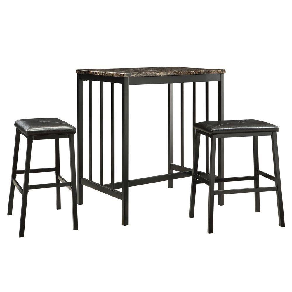Wyman 3-Piece Black Bar Table Set