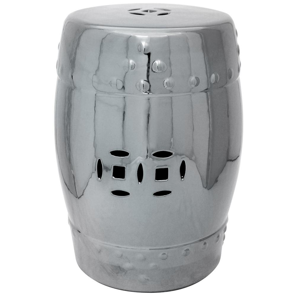 Pure Silver Porcelain Garden Stool