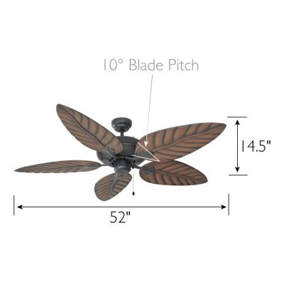 Martinique 52 in. Indoor/Outdoor Oil Rubbed Bronze Ceiling Fan with No Light Kit with Remote Control
