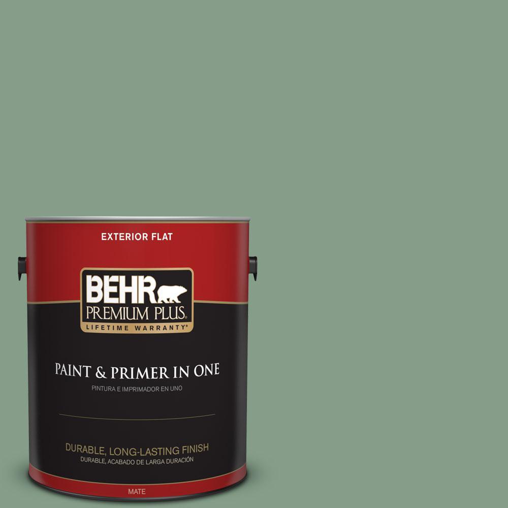 BEHR Premium Plus 1-gal. #S410-5 Track Green Flat Exterior Paint