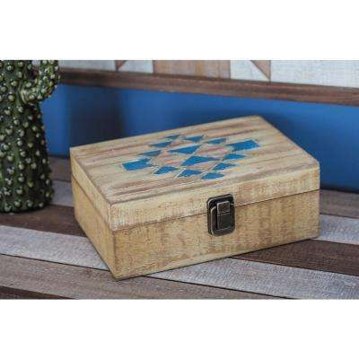 Wooden Brown and Blue Geometrical-Patterned Boxes (Set of 2)