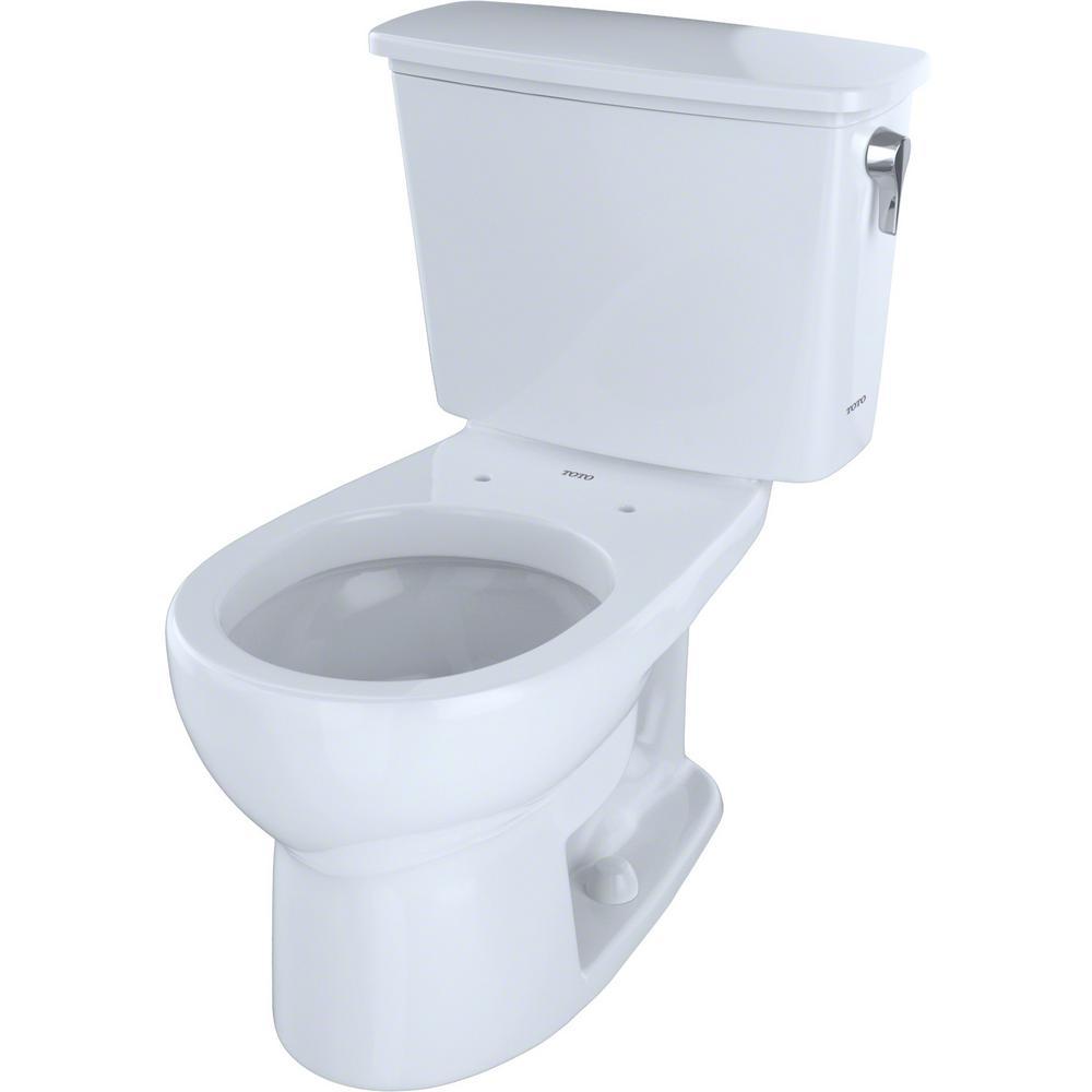 TOTO Eco Drake 2-Piece 1.28 GPF Single Flush Round Toilet with Right Hand Trip Lever in Cotton White