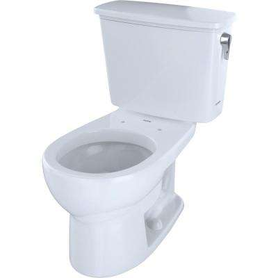 Eco Drake 2-Piece 1.28 GPF Single Flush Round Toilet with Right Hand Trip Lever in Cotton White