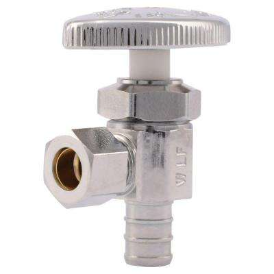 1/2 in. Chrome-Plated Brass PEX Barb x 3/8 in. Compression Angle Stop Valve