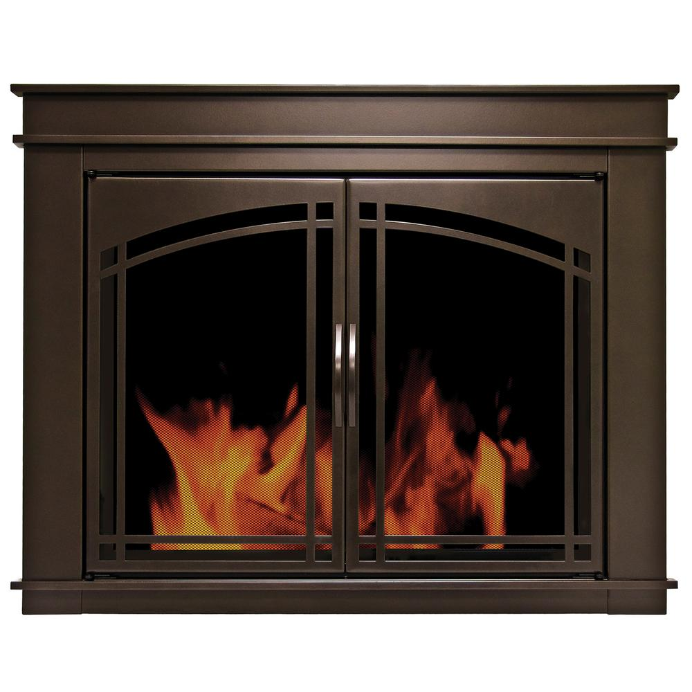 Customize the look of your home by choosing this elegant Pleasant Hearth Fenwick Large Glass Fireplace Doors. Offers lasting durability.