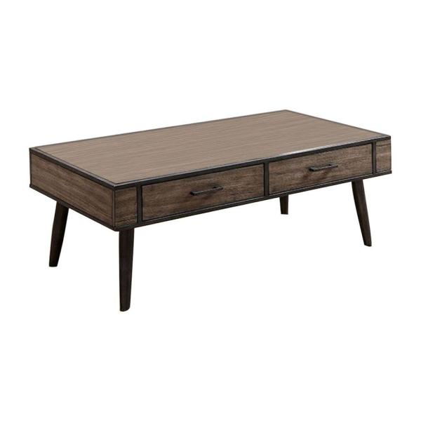 48 in. L Taupe Gray 2-Drawer Rectangular Metal Frame Wooden Top Coffee Table with Splayed Legs