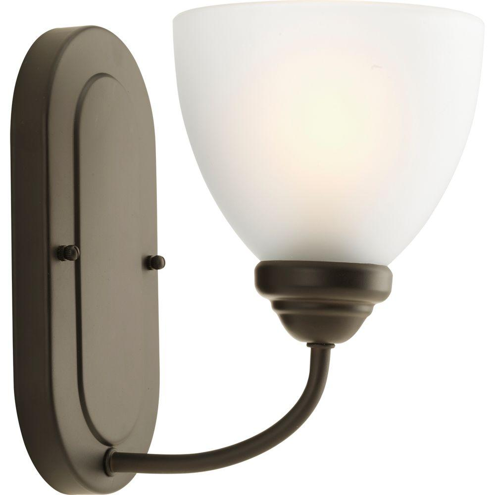 Progress Lighting Heart Collection 1-Light Antique Bronze Bath Sconce with Etched Glass Shade