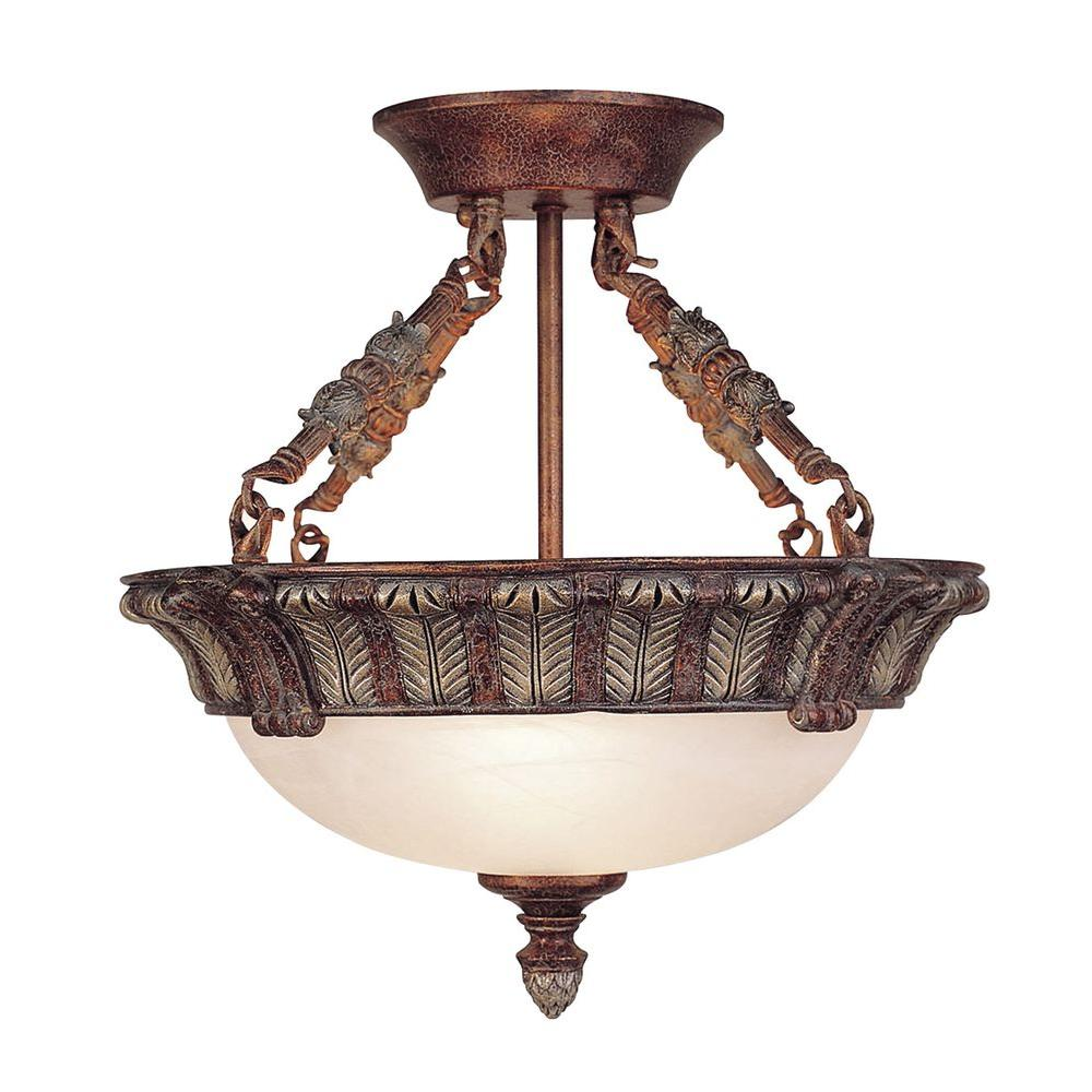 Livex Lighting Providence 3-Light Ceiling Crackled Bronze with Vintage Stone Accents Incandescent Semi-Flush Mount