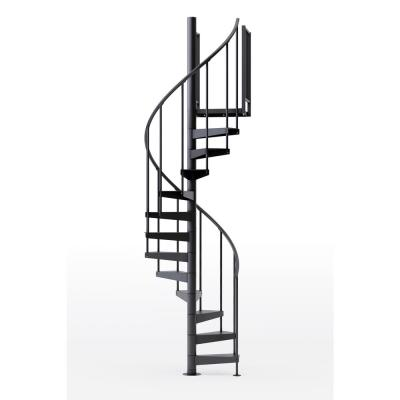 Condor Black Interior 42in Diameter, Fits Height 93.5in - 104.5in, 1 36in Tall Platform Rail Spiral Stair Kit