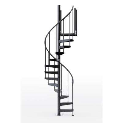 Condor Black 42 in. (3 ft. 6 in.) Wide 10 Treads with One 36 in. H Platform Rail Spiral Stair Kit