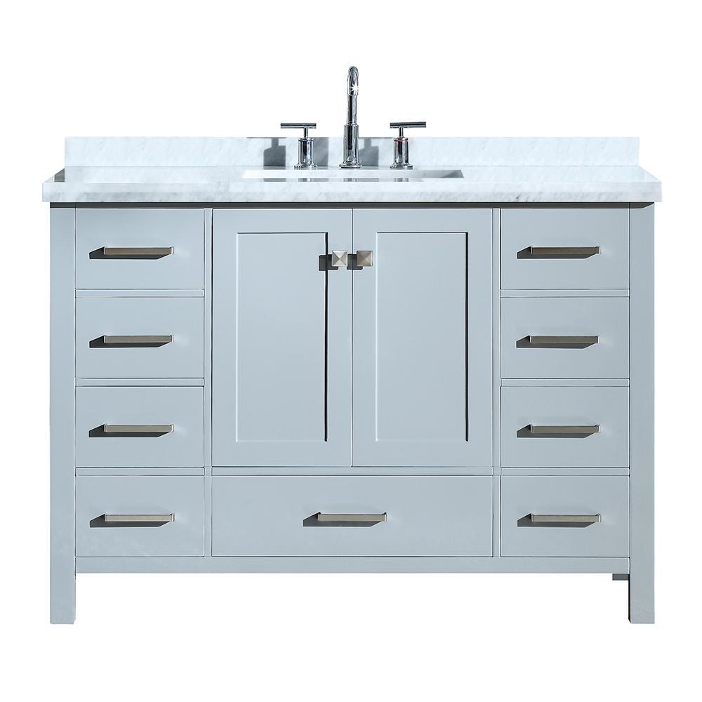 Cambridge 49 in. Bath Vanity in Grey with Marble Vanity Top