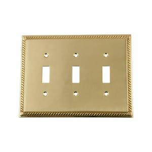 Nostalgic Warehouse Rope Switch Plate with Triple Toggle in Unlacquered Brass by Nostalgic Warehouse