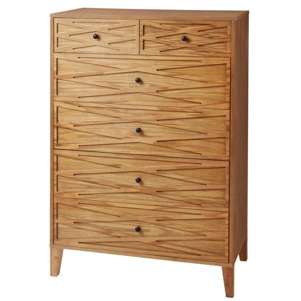 Newford Patina Finish 6 Drawer Chest of Drawers with Diamond Detail (35 in W. X 50 in H.)