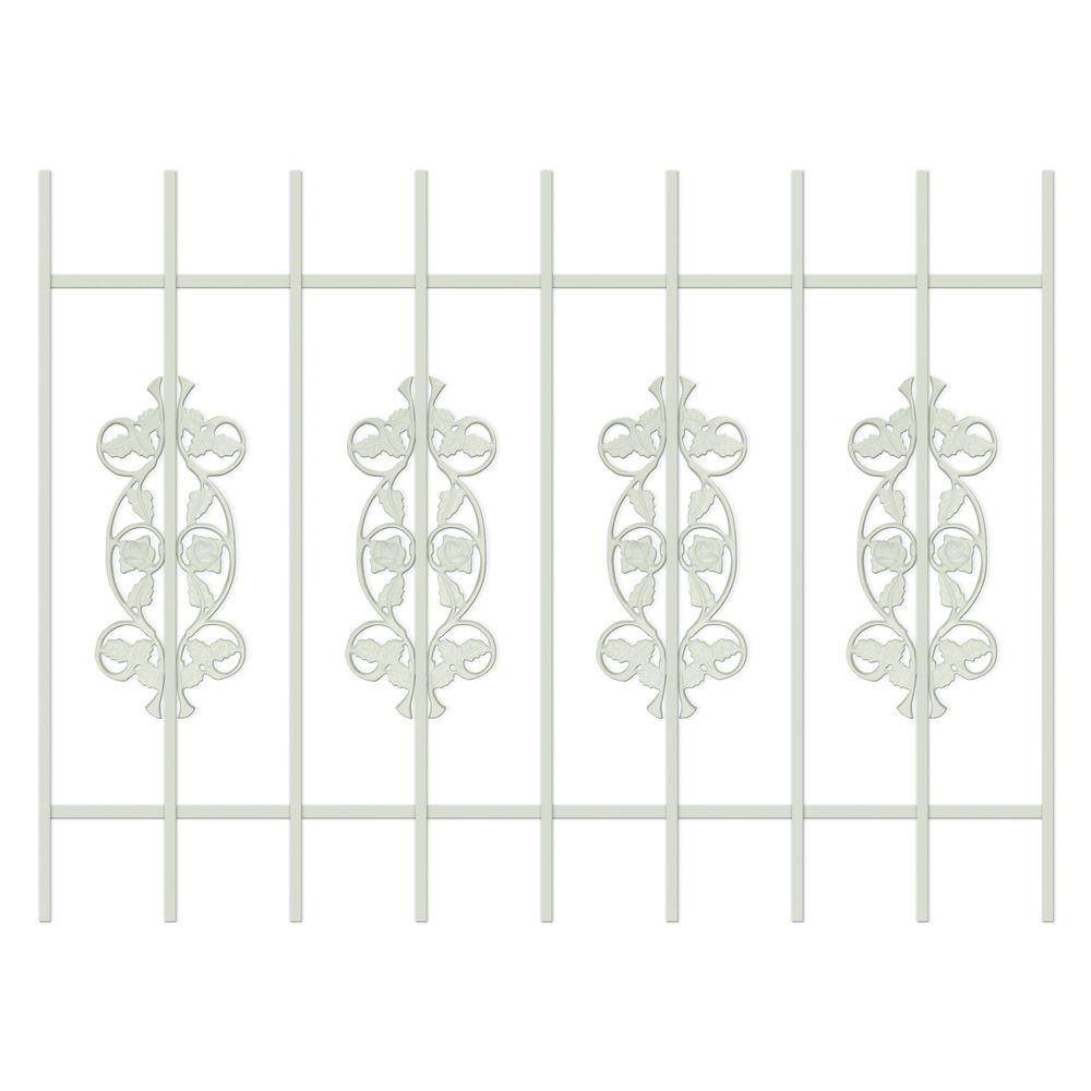 Unique Home Designs Rambling Rose 48 in. x 36 in. Almond 9-Bar Window Guard-DISCONTINUED
