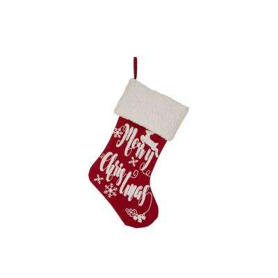 21 in. H Fabric Stocking, in. Merry Christmas in