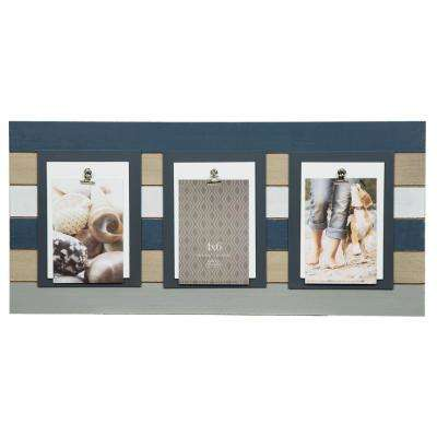 3-Clip 4 in. x 6 in. Gray Plank Picture Frame