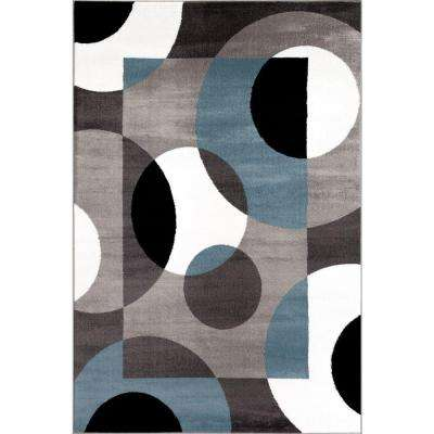 Modern Circles Blue 3 ft. 3 in. x 5 ft. Indoor Area Rug