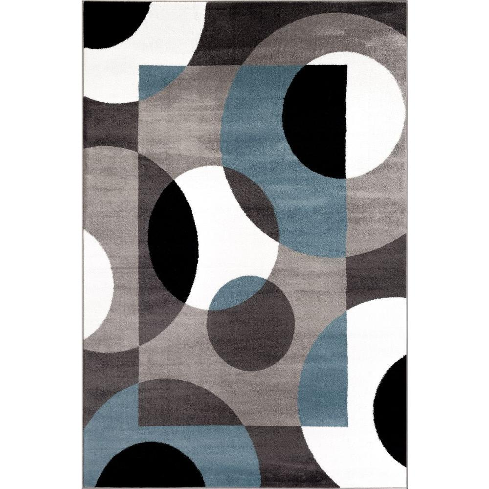 World Rug Gallery Modern Circles Blue 5 Ft 3 In X 7