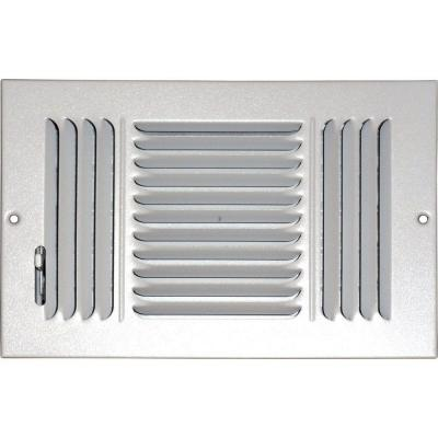 10 in. x 6 in. Ceiling/Sidewall Vent Register, White with 3-Way Deflection