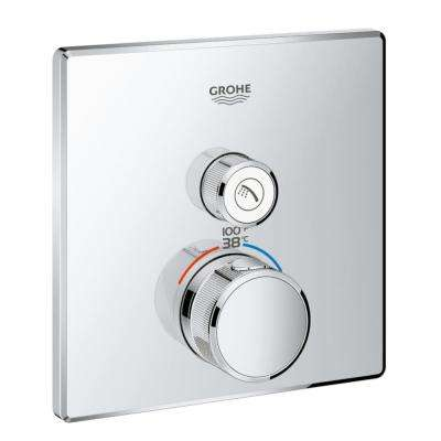 Grohtherm Smart Control Single Function Square Thermostatic Trim with Control Module in Starlight Chrome
