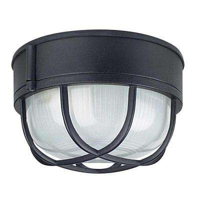 Hurd 1-Light Black Outdoor Flush Mount