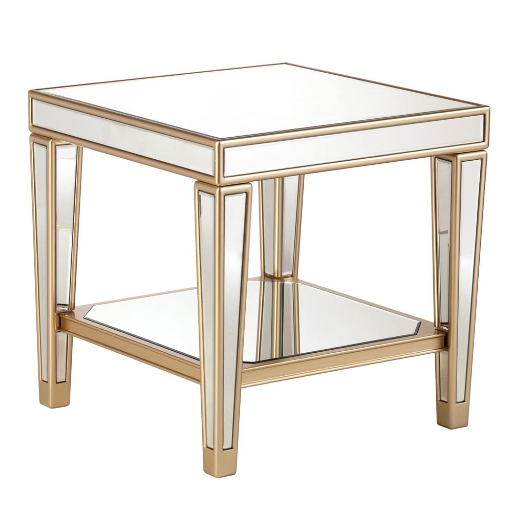 Southern Enterprises Huntleigh Metallic Champagne Glam Mirrored End Table